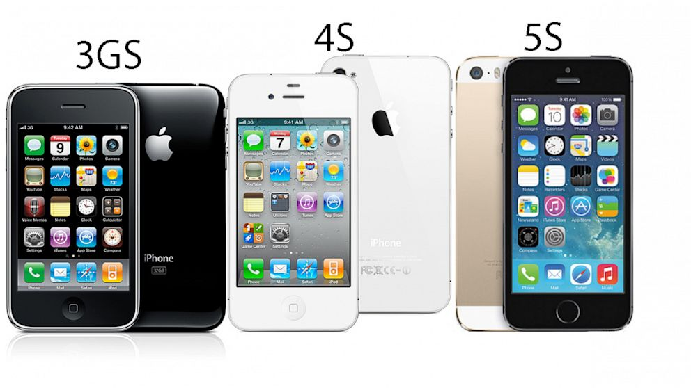 PHOTO: The 3Gs, 4S and 5S models of the Apple I-Phone are lined up side by side.