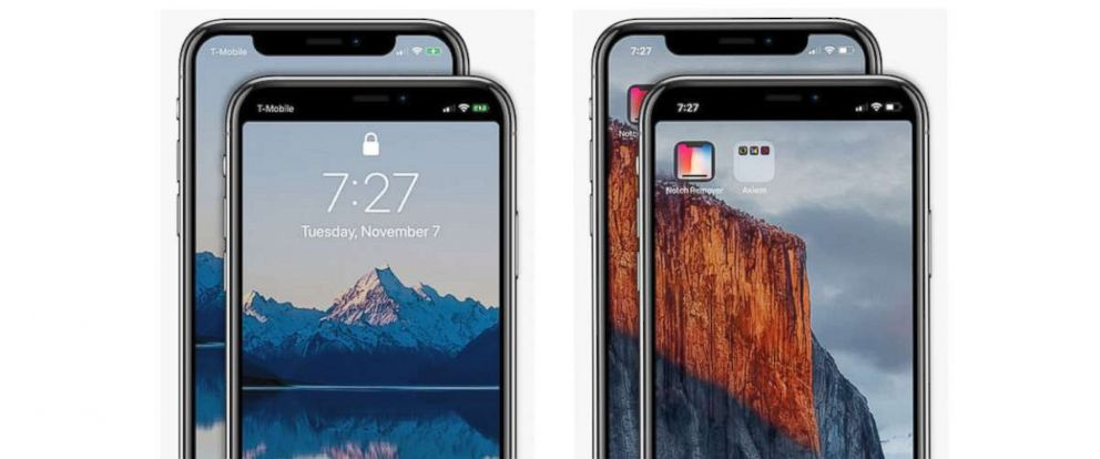 "PHOTO: Axiem Systems develops an app that removes the notch at the top of an iPhone X screen called ""Notch Remover."""