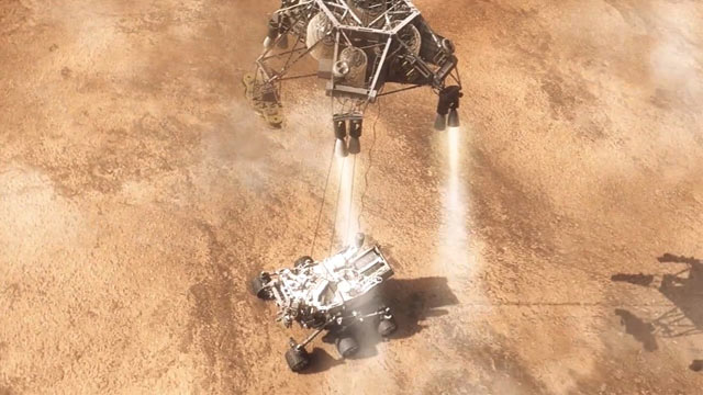 PHOTO: A video grab of NASAs Curiosity rover as it makes its landing on Mars.