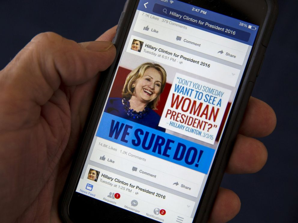 PHOTO: A mobile phone shows a Facebook page promoting Hillary Clinton for president in 2016, photographed on April 13, 2015.