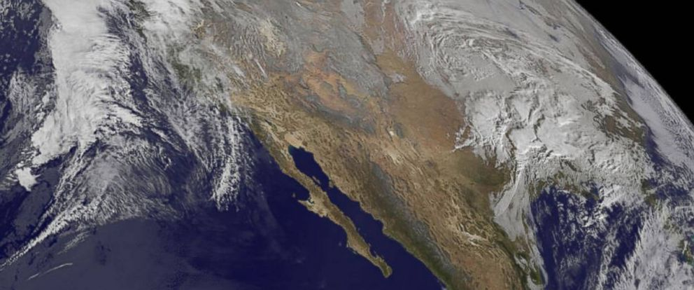 PHOTO: NOAAs GOES-West satellite imagery from Jan. 21, 2016 at 10 a.m. EST, shows the large winter storm near the Gulf coast and another storm approaching the Pacific coast.