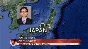 PHOTO Christiane Amanpour interviews the spokesman to the Japanese Prime Minister, Nori Shikata.