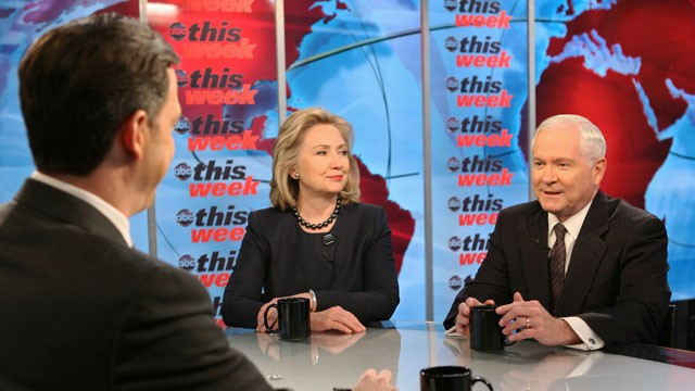 "Secretary of State Hillary Clinton and Defense Secretary Robert Gates speak with Jake Tapper on ""This Week."""