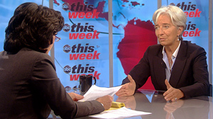 "PHOTO French Finance Minister Christine Lagarde appears on ""This Week with Christiane Amanpour."""