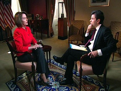 "PHOTO Speaker of the House Nancy Pelosi sits down for an interview on ""This Week"" with ABCs George Stephanopoulos."