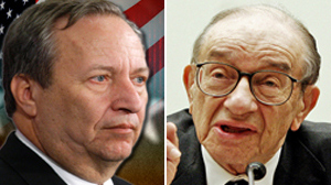 PHOTO Larry Summers, left, and Alan Greenspan are shown in these file photos.