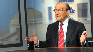 "PHOTO Former Federal Reserve Chairman Alan Greenspan discusses job loss, the economy and whats to come during an exclusive interview on ABCs ""This Week."""