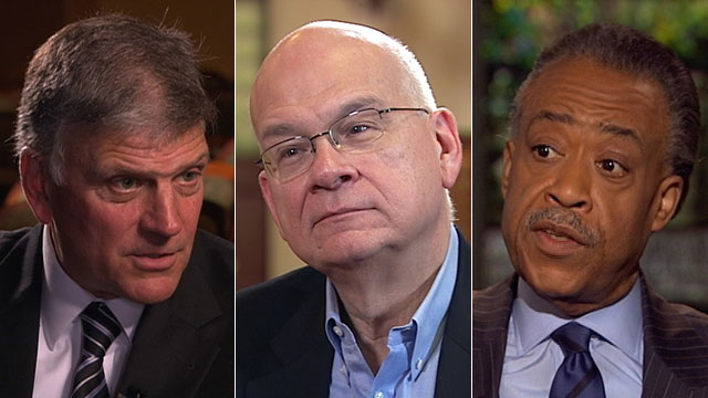 "PHOTO: Rev. Franklin Graham, Pastor Tim Keller and Rev. Al Sharpton appear on ""This Week"" to discuss God and government."