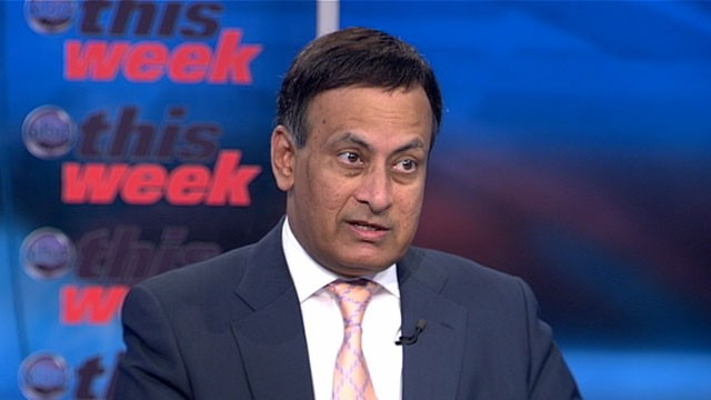 "PHOTO: Pakistan's Ambassador to the United States, Husain Haqqani, appears on ""This Week with Christiane Amanpour."""