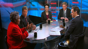 PHOTO Jake Tapper speaks George Will, ABC News political director Amy 