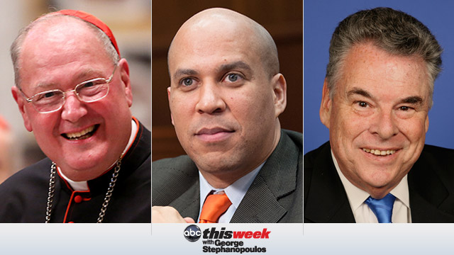 Cardinal Timothy Dolan, Mayor Cory Booker and Rep. Peter King of NY on This Week with George Stephanopolis
