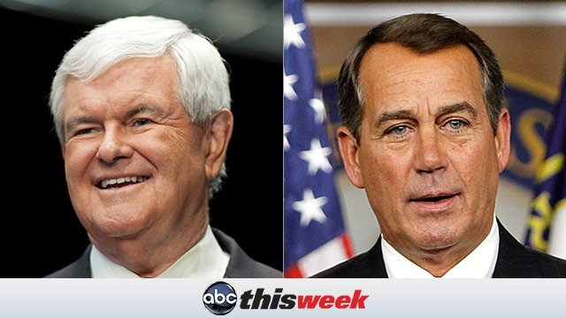 PHOTO:&nbsp;Gingrich and Boehner on This Week