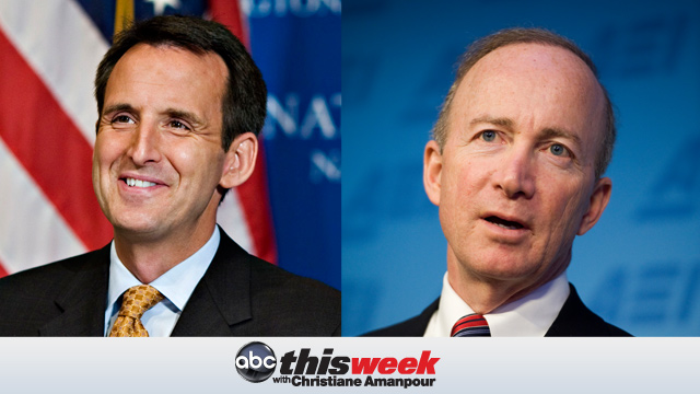 PHOTO: Pawlenty (R-MN) on the left and Gov. Mitch Daniels