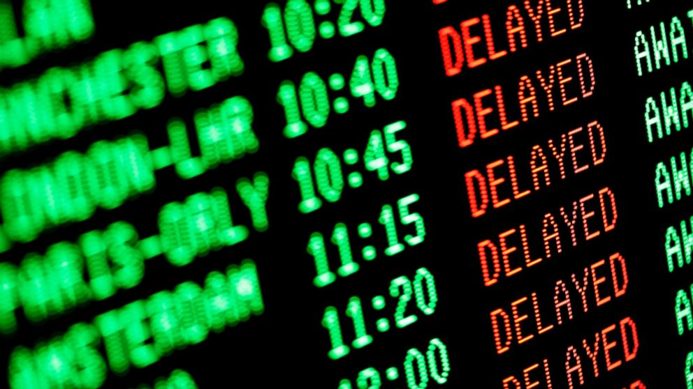 PHOTO: An arrival and departure sign showing delays is seen in this undated file photo.