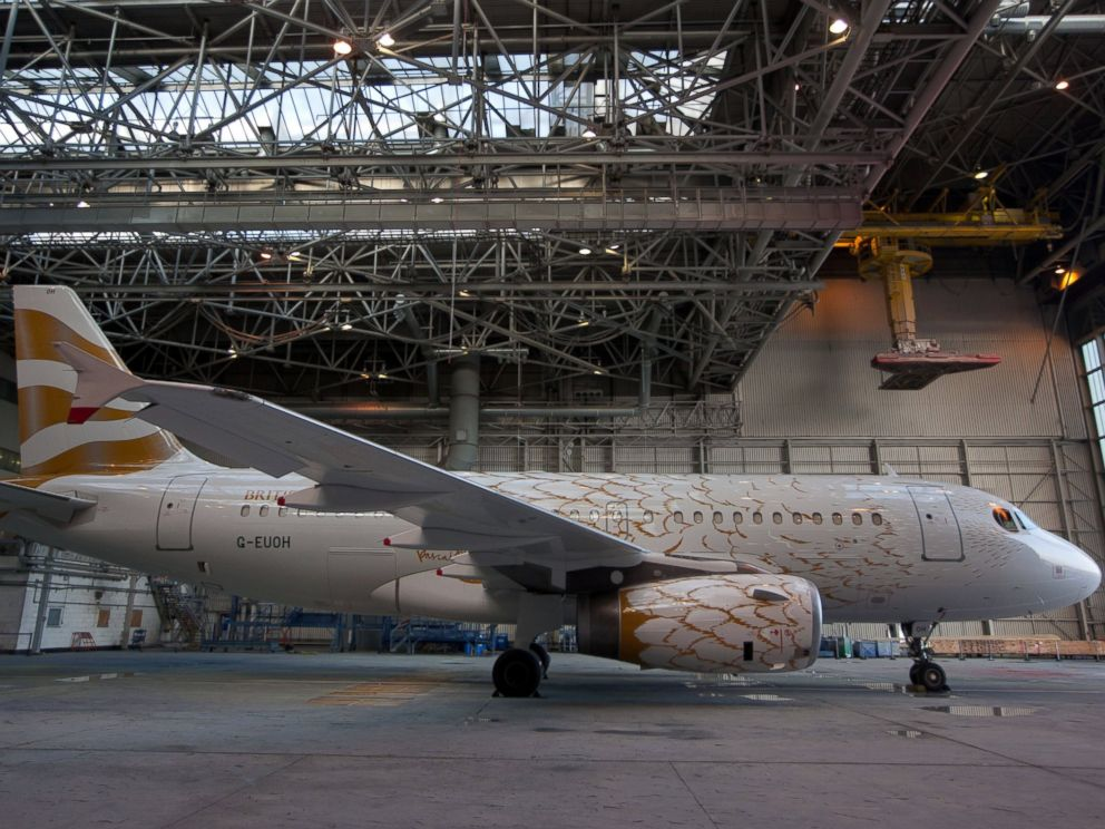 PHOTO: A British Airways Airbus A319 aircraft displaying The Dove celebratory Olympics livery stands in a hangar at Heathrow airport in London, April 3, 2012.