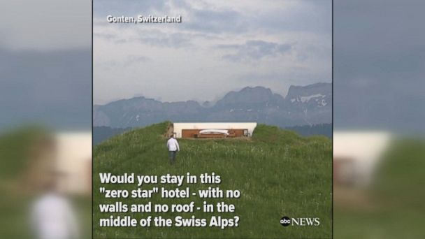 GREAT OUTDOORS: Would you spend the night in a hotel without walls or a roof in the middle of the Swiss alps for $306 a night?