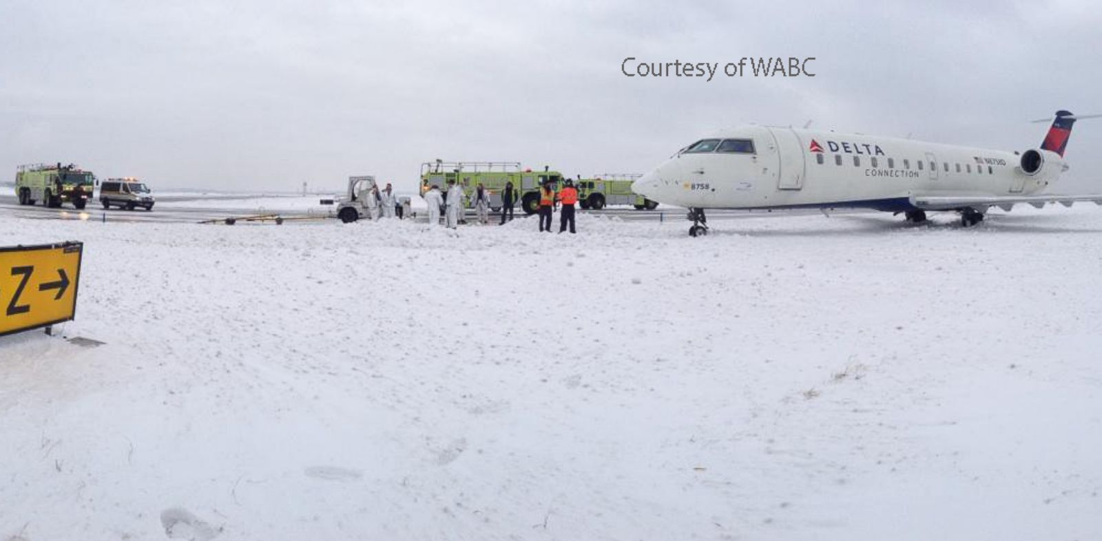 PHOTO: A plane skidded off the runway and into the snow at Kennedy International Airport, Jan. 5, 2014. Port Authority Police Crash, Fire, Rescue Unit responded and actually had to dig aircraft out of snow.