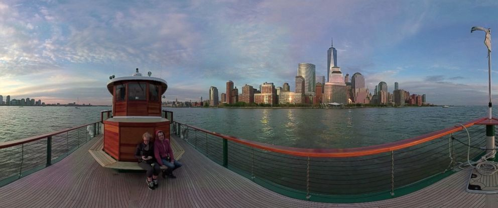 PHOTO: A panoramic view of the New York skyline is seen from its harbor in May 2016.