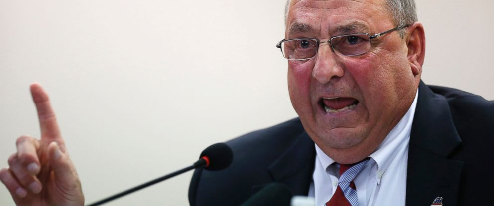 PHOTO: Republican Gov. Paul LePage speaks at a town hall meeting in Auburn, Maine in this October 2015 file photo.