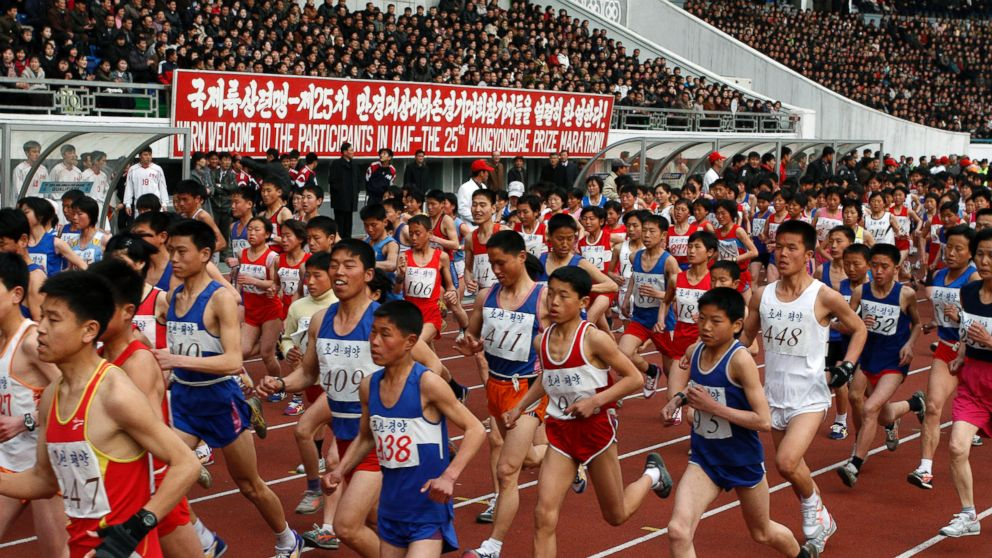 PHOTO: In this file photo, runners take part in the Pyongyang Marathon on Apr. 8, 2012 in Pyongyang, North Korea.