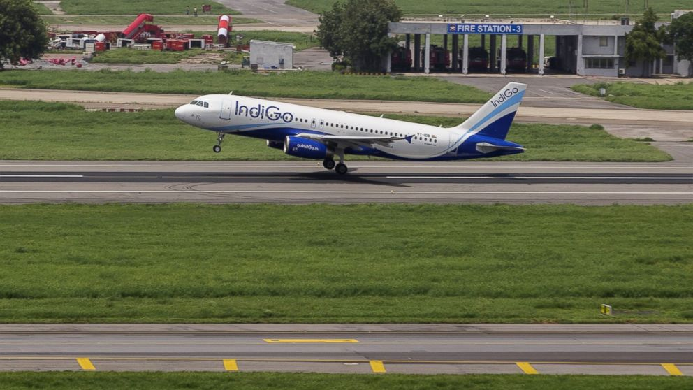 PHOTO: An aircraft operated by IndiGo, a unit of Interglobe Enterprises Ltd., is seen from a control tower as it takes off at Indira Gandhi International Airport (IGI) in Delhi, India, on July 18, 2016.