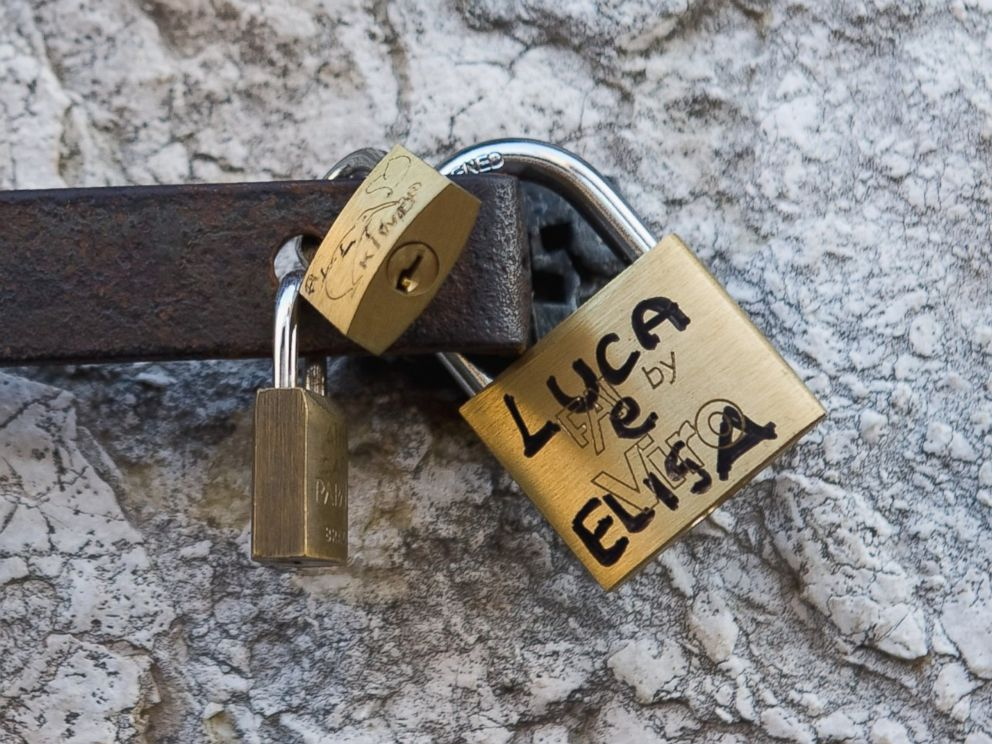 PHOTO: Love Locks are pictured attached to a wall on the Rialto Bridge on Aug. 23, 2011 in Venice, Italy.