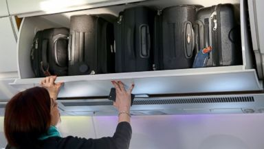 PHOTO: The hand baggage overhead bins in the cabin of a new Airbus A350X WB passenger plane on the tarmac at Munich Airport during a presentation of the new plane by Airbus officials, Feb., 27, 2015, in Munich.