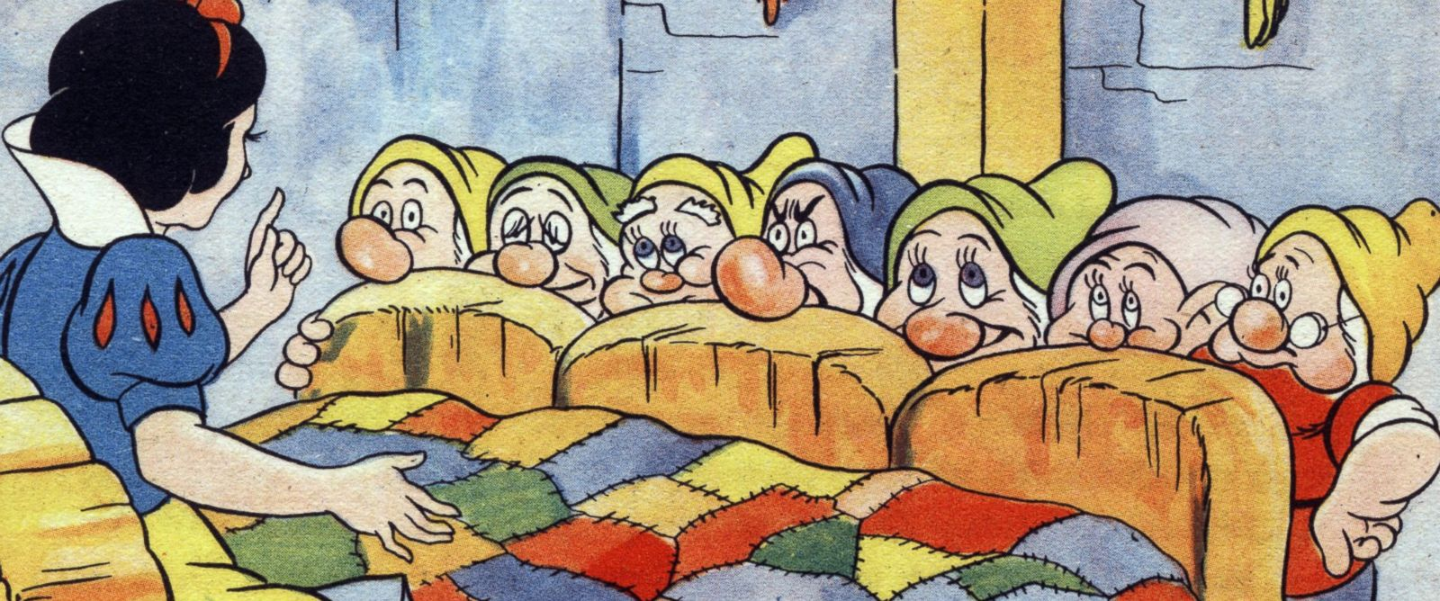 PHOTO: The 7 dwarfs are frightened by Snow White in an illustration by Walt Disney from the French book, 1940.