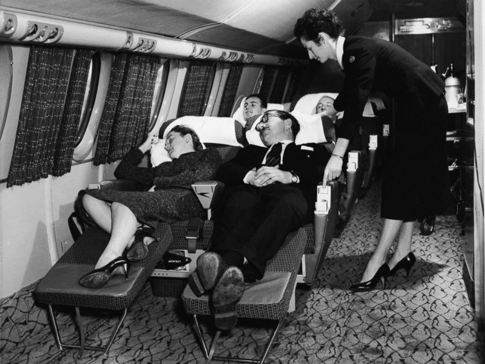 PHOTO: An interior view of the first-class compartment of a commercial passenger plane, 1950s.