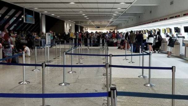 PHOTO: Long lines at a Spirit Airlines terminal the Fort Lauderdale-Hollywood International Airport in Fort Lauderdale, Florida.
