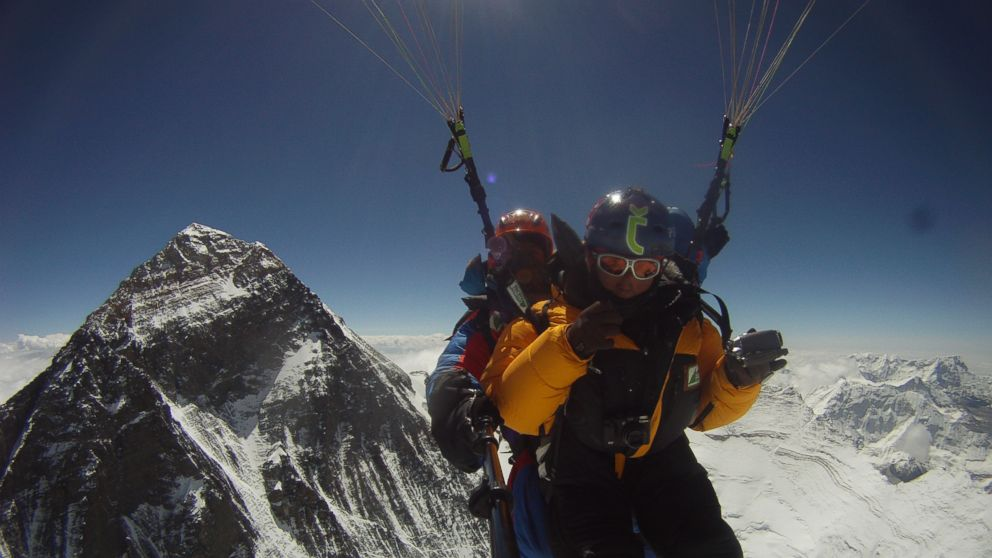 PHOTO: In a never before attempted feat, two Nepalis Sanobabu Sunuwar and Lakpa Tshiri Sherpa set their sights on paragliding from Everests summit and then taking a 700-mile kayaking