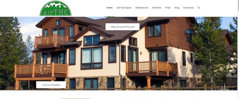 PHOTO: AirTHC.com, a newly launched short-term rental site for Colorado travelers seeking out pot-friendly accommodations, as seen on April 28, 2014.