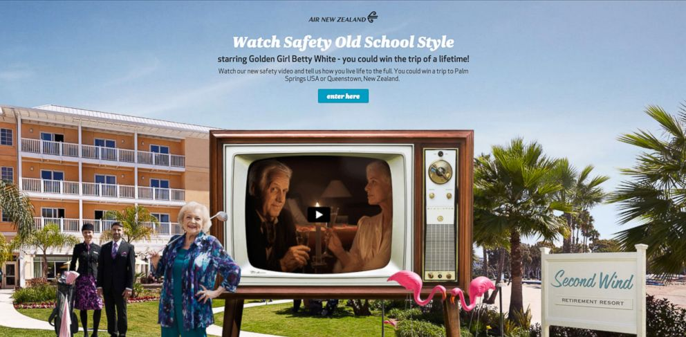 "PHOTO: Comedian Betty White appears in a new humorous video for Air New Zealand entitled ""Safety Old School Style"""