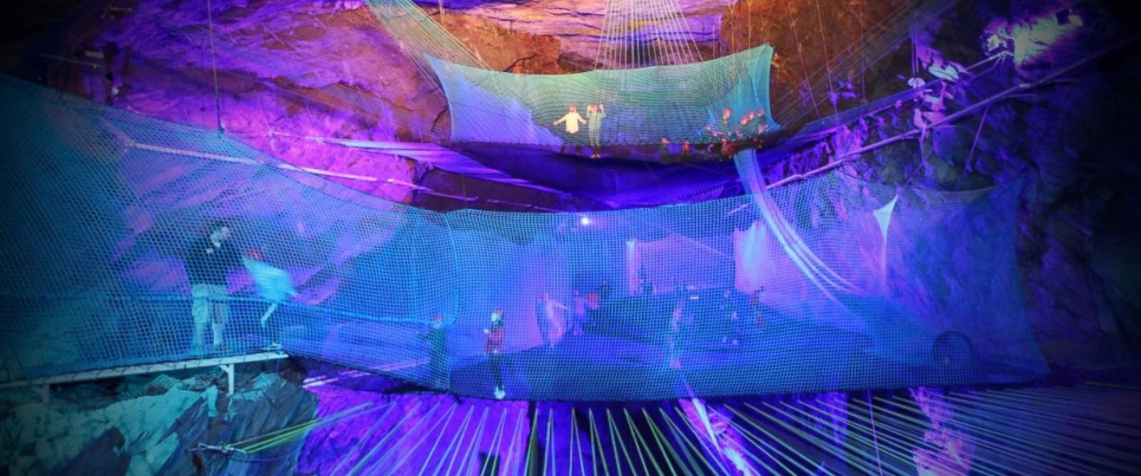 PHOTO: The worlds largest underground trampoline opened July 4, 2014, in Northern Wales.