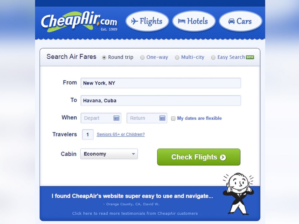 PHOTO: CheapAir.com selling flights from U.S. to Cuba.