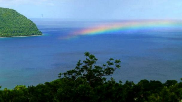 PHOTO: A rainbow over the ocean at Manicou River Resort, Dominica.