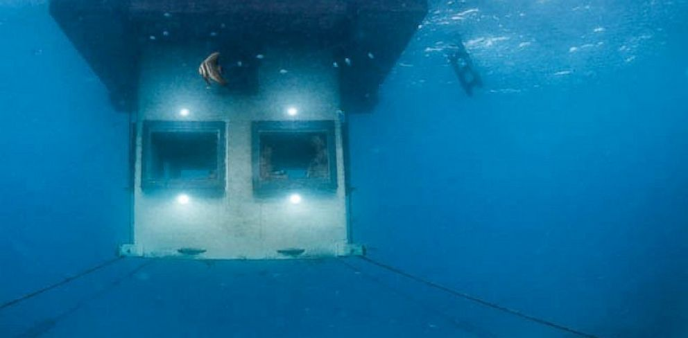 PHOTO: The Underwater Room at the Manta Resort is Africas first underwater hotel space.