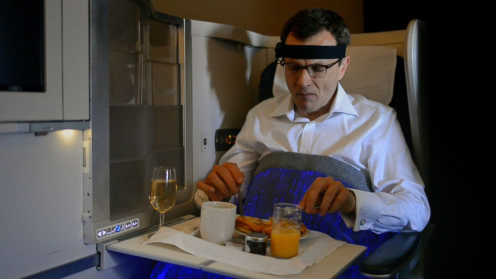 "PHOTO: British Airways recently tested a ""happiness blanket"" that used wearable technology to measure passengers moods in flight."