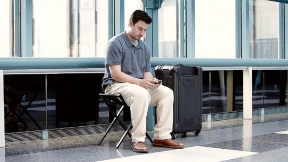 PHOTO: This new luggage concept includes a seat that can also be used for a luggage rack.