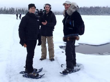 PHOTO: ABCs Neal Karlinsky, left, with Nightline producer Michael Cappetta, center, stand with Eddie Ahyakak during their trek through the Alaskan wilderness.
