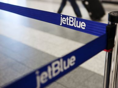 PHOTO: A JetBlue Airways logo is seen at the check-in counter at LaGuardia Airport in New York in this April 5, 2012 file photo.