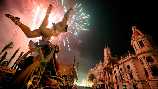 "PHOTO: A traditional ""ninot"" sculpture burns down on the last day of the ""Fallas"" festival in Valencia March 19, 2011."