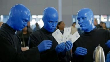 VIDEO: Blue Man Group appear in airport security video.