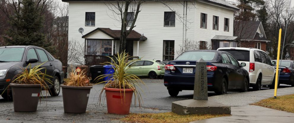 PHOTO: Potted plants dot the international boundary between two border towns, Derby Line, Vt. and Stanstead, Quebec, Dec. 14, 2015.