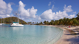 Salt Whistle Bay, a breathtaking natural harbor on the Island of Mayreau, one of the 32 islands that make up the nation of St. Vincent & the Grenadines.