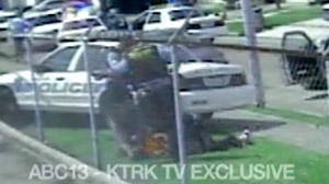 PHOTO A surveillance video captured almost one year ago showing Houston police officers relentlessly beating and kicking a teen burglary suspect was just released to the public.
