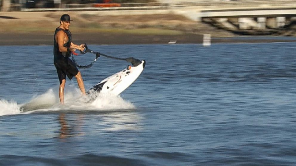 "PHOTO: The PowerSki JetBoard is seen in a segment of ""Nightline""."