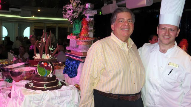 PHOTO: ABC News producer Tom Giusto at tea time with his favorite crew member, Pastry Chef Rafael De Freitas.