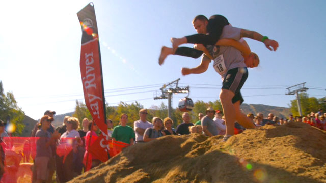 PHOTO: The Wife-Carrying Competition held in Newry, Maine challenges couples to race together as one through an obsticle course.