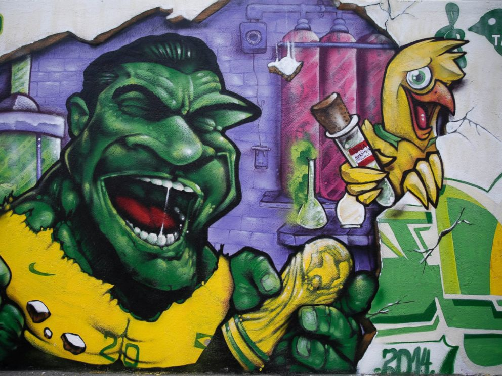 PHOTO: A wall decorated with a mural depicting Brazilian soccer player Hulk, stands in Rio de Janeiro, Brazil, May 27, 2014.